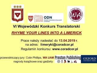 Ogłoszenie konkursu limerykowego 2019